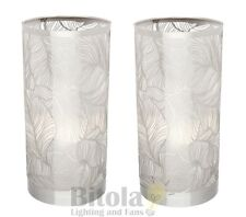 NEW PAIR OF MERCATOR THALIA BEDSIDE TOUCH TABLE LAMPS LASER-CUT CHROME SHADE