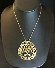 "VTG Gold Sterling Silver Necklace Pin Pendant Brooch H&H 25.25"" 19g 925 #1470"