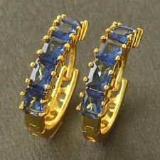 Blue Topaz Womens Hoop Earing 18mm Novelty 9K Yellow Solid Gold Filled