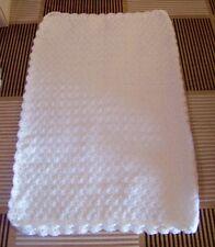 couverture blanche bébé mixte tricotée main en france 60X80 cm hypoallergénique