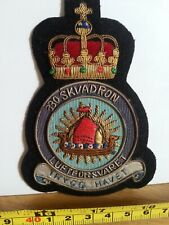 330 Squadron RNoAF Embroidered Crest Badge Patch Official Crest Gold Wire Norway
