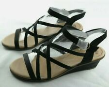 Dr Scholl's Women's Black 2 Tone Strappy Wedge Sandals Size US 9.5 (EU 39.5) New