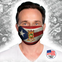 Puerto Rico Flag Face Mask with Heraldry - Washable,reusable,soft -Free shipping