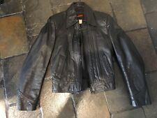 Men's Leather Jacket Bomber Zip Style 1980's EXC