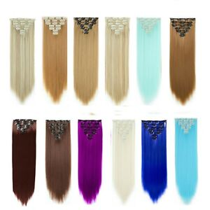 """Blue Ash Grey 23""""Long Straight Clip in Hair Extension Like Natural Hairpiece"""