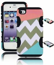 For iPhone 4, 4G -Black Silicone Gel Cover+Coral Pink & Teal Chevron Hybrid Case