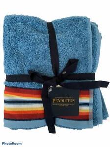 """Pendleton Towel Set of 2 Hand Towels Saltillo Stripe Blue 100% Cotton 16""""x28"""""""