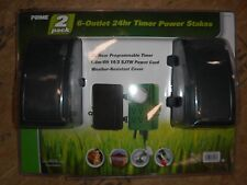 PRIME 2 PACK 6-OUTLET 24hr TIMER POWER STAKES PROGRAMMABLE 6' POWER CORD NEW