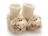 chaussons bebe mouton naturel mignon fourrure Taille 18-20 cadeau naissance