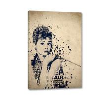 Audrey Hepburn Splash Art Typografie 90x60cm Leinwandbild Keilrahmen Caro Art