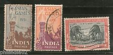 India 1951 Used Year Pack of 3 Stamps Geological Survey Aisian Games Elephant