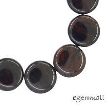 "11PC Mahogany Obsidian Flat Round Coin Beads 18mm 7.6"" #89054"