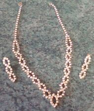 VINTAGE DIAMANTE & GOLD TONE NECKLACE + MATCHING EARRINGS ~ REALLY BEAUTIFUL