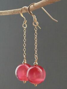 Vintage Pink 'Cats Eye' Satin Glass 14ct Rolled Gold Earrings