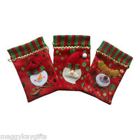 3 Pack x Mini Christmas Red Fabric Gift - Treat Party Jewellery Sweetie Bags