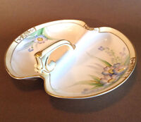 Noritake Nippon Large Handled Divided Dish - Blue Purple Forget-Me-Not - Japan