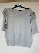 FASHION UNION GREY KNITTED JUMPER FRILLED SLEEVES SIZE 18