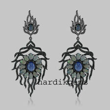 Cut Diamond Tanzanite Opal Earring Solid 925 Sterling Silver Natural Rose