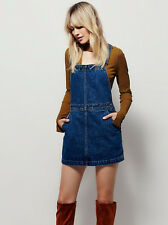 NWOT Free People Denim Jean Skirt Jumper Overalls Mini Dress Memphis Blue 27