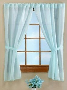 """BLUE BATHROOM WINDOW CURTAINS ~ 36""""  x 54""""  ~ WATER REPELLENT FABRIC ~ NEW"""