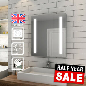 Bathroom LED Mirror Cabinet with Shaver Socket Storage Wall Mounted  600x700mm