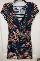 Joseph Ribkoff navy floral and stripe fitted dress Size 4 wrap style COCKTAIL