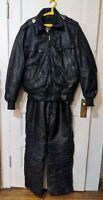Vintage Arcticwear Arctic Cat Black Leather Snow Suit Pants Bibs Jacket Large