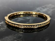 Lovely Signed ROMAN Jewellery Vintage Goldtone Rhinestones Bangle Cuff Bracelet