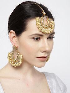Indian Bollywood Gold Plated Pearl Maang Tikka & Earring  Ethnic Wedding Jewelry