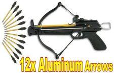 NEW 50 LB 50lb ARCHERY HUNTING GUN PISTOL CROSSBOW + 12 x ALUMINUM ARROWS BOLTS