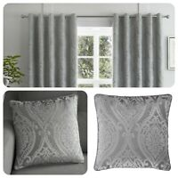 Curtina CHATEAU Silver Jacquard Eyelet Curtains & Cushions