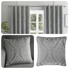 Curtina CHATEAU Silver Jacquard Eyelet Curtains & Cushions