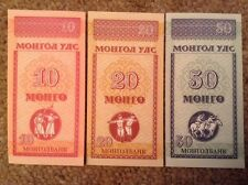 Lote de 3 X Mongolia billetes. 10, 20, 50 Mongos UNCIRCULATED.
