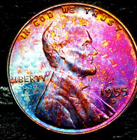 """1955 D Lincoln Wheat Penny Cent- """"Beautiful Toning"""" SUPERB GEM HIGH GRADE #03"""