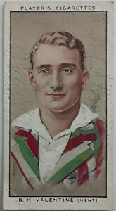 John Player Cricketers #29 B. H. Valentine Imperial Tobacco Card