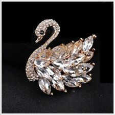 S15 Austrian Crystals The Suniva Elegant Gold Swan Brooch $64