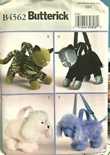 B4562 Butterick 4 Lined Animal Bags Patterns UNCUT
