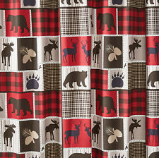 LODGE LIFE 5pc CURTAIN SET : BLACK BEAR MOOSE RED CHECK WINDOW PANELS VALANCE