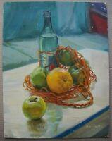 Russian Ukrainian Soviet Oil Painting realism Still Life apple orange bottle