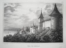 Murten Morat Canton Friburgo murtensee Svizzera vera vecchia litografia 1840