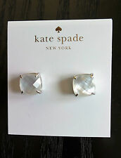 Square Stud Post Earrings New Kate Spade Silver-Plated Cream Small