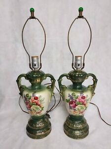 """Floral Table Lamps Green Gold Set of 2 Matching 24"""" Double Handled Urn Shape"""