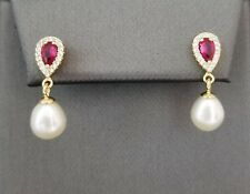 14k Yellow Gold Over Silver Red Ruby Diamond Accents Pearl Drop Stud Earrings