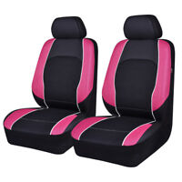 Universal 2 Front Car Seat Covers Pink Black Airbag Compatible For Girls Women