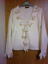 OUI Cardigan With Frill Front Size 12 Colour Blush