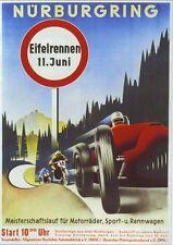 1930's Nurburgring alemán Motor Racing Poster A2 Reimpresión