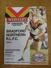 11/03/1992 programma Rugby League: BRADFORD Northern V Featherstone Rovers (CREA