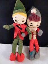 Vintage  CHRISTMAS ELVES PIXIE GIRL AND BOY KNEE-HUGGERS ADORABLE  JAPAN