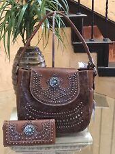 Montana West American Bling Turquoise Concho Handbag Matching Wallet Set