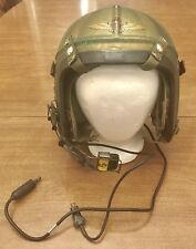 USN NAVY PILOT FLIGHT HELMET POST WWII KOREAN WAR ERA BASSONS INDUSTRIES